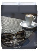 Cup Of Coffee And Sunglasses Duvet Cover