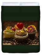 Cupcakes And Coffee Beans Duvet Cover
