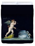 Cupid Being Led By A Pair Of Swans Duvet Cover