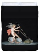 Cupid Being Led By Tortoises Duvet Cover