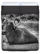Curly Horns-black And White Duvet Cover