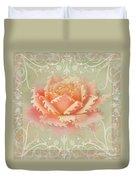 Curlyicue Peach Rose With Flourshis   Square Duvet Cover