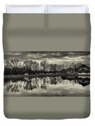 Cushwa Basin C And O Canal Black And White Duvet Cover
