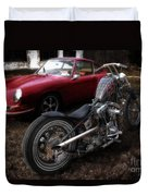 Custom Bike And Porsche Duvet Cover