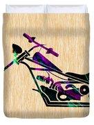Custom Chopper Motorcycle Duvet Cover