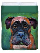 Cute Boxer Puppy Dog With Big Eyes Painting Duvet Cover by Svetlana Novikova