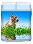 Cute Cat Outdoor Portait Duvet Cover
