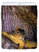Cute Fuzzy Squirrel In Tree Near Garden Duvet Cover