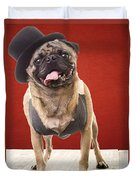 Cute Pug Dog In Vest And Top Hat Duvet Cover by Edward Fielding
