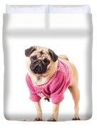 Cute Pug Wearing Sweater Duvet Cover