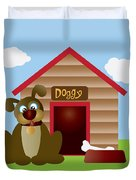 Cute Puppy Dog With Dog House Illustration Duvet Cover