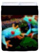 Cutout Layer Art Animal Portrait Blue Frogs Duvet Cover