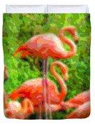Cutout Layer Art Animal Portrait Flamingo Duvet Cover