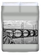 Cv - Susquehanna River Bridge Harrisburg  Pennsylvania In Black  Duvet Cover
