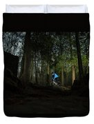 Cyclist In Mountain Forest Duvet Cover