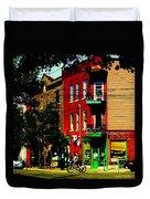 Cyclists Crossing Rue Clark Corner Wilensky Spring Street Scene Montreal Art Carole Spandau Duvet Cover