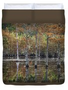 Cypress Tree Fall Reflections Duvet Cover