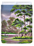 Cypress Trees-wakulla River Florida Duvet Cover