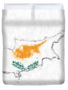 Cyprus Painted Flag Map Duvet Cover