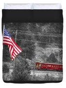 Cyrus K. Holliday Rail Car And Usa Flag Bwsc Duvet Cover