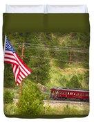 Cyrus K. Holliday Rail Car And Usa Flag Duvet Cover