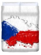 Czech Republic Painted Flag Map Duvet Cover