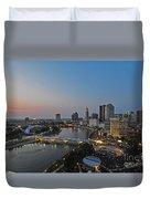 D2l448 Columbus Ohio Night Skyline Photo Duvet Cover