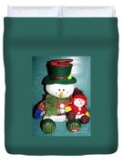 Daddy And Baby Snowmen Decorations Duvet Cover