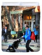 Daddy Pushing Stroller Greenwich Village Duvet Cover
