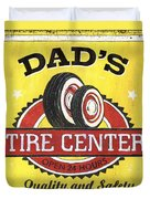Dad's Tire Center Duvet Cover by Debbie DeWitt