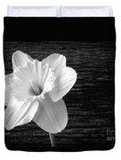 Daffodil Narcissus Flower Black And White Duvet Cover