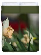 Daffodil With A Splash Of Red Duvet Cover