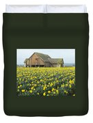 Daffodils And Barn Duvet Cover