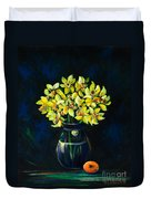 Daffodils And Fruit Duvet Cover