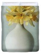 Daffodils In A White Flowerpot Duvet Cover