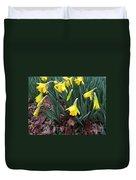 Daffodils In The Rain  Duvet Cover