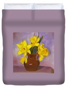 Yellow Daffodils On Purple Duvet Cover