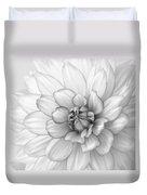 Dahlia Flower Black And White Duvet Cover