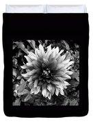 Dahlia In Black And White Duvet Cover