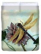 Dahlia With Dragonfly Resting Duvet Cover