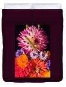 Dahlia Zinnia Bachelor's Buttons Flowers Duvet Cover