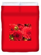 Red Dahlias  Duvet Cover