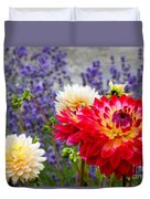 Dahlias Among The Lavender Duvet Cover