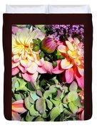Dahlias And Hydrangeas Bouquet Duvet Cover