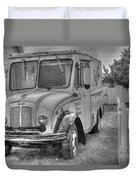 Dairy Truck - Old Rosenbergers Dairies - Black And White Duvet Cover