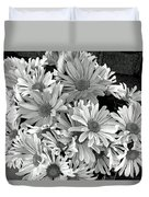 Daises In Black And White Duvet Cover