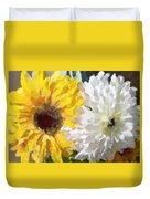 Daisies And Sunflowers - Impressionistic Duvet Cover