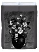 Daisies In Black And White Duvet Cover