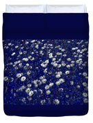 Daisies In Blue Fire Duvet Cover