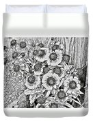 Daisies In Relief Duvet Cover